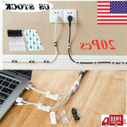 20x Wire Storage Clips Buckle Securing Cable Clamp Data Line