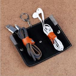 travel storage bag charger data cable wire